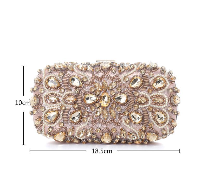 F7229A Rose Gold Diamonté Clutch Bag