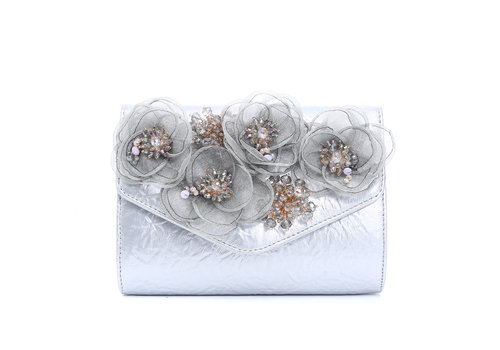 Peach Accessories F2353 Silver Bag with flowers