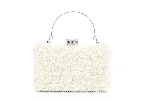 Peach Accessories 8255 Ivory Pearl Clutch Bag
