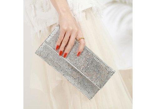 Peach Accessories Peach JH015 Silver Crystal Clutch Bag