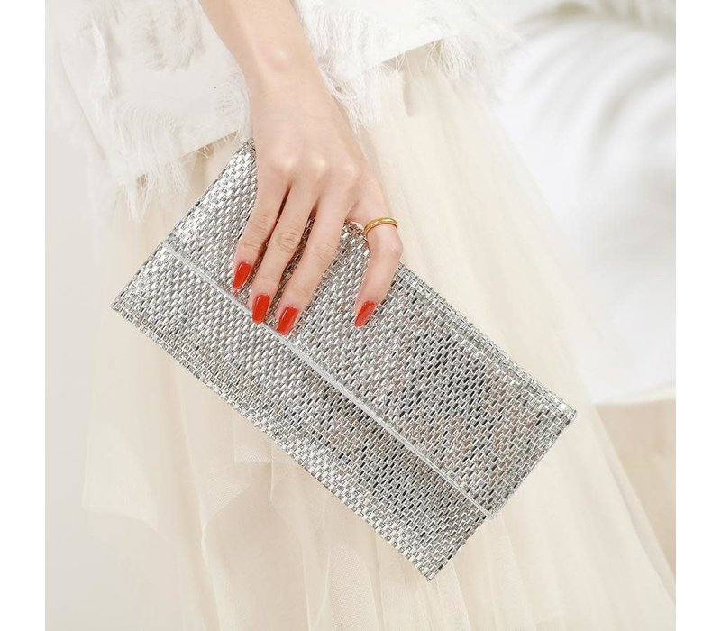 Peach JH015 Silver Crystal Clutch Bag