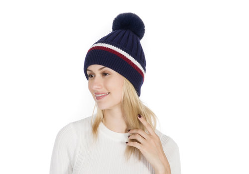 Peach Accessories Peach SD45 Navy pom pom Hat
