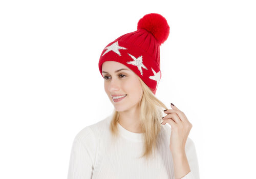 Peach Accessories Peach SD16 Red pom pom Hat W/Stars