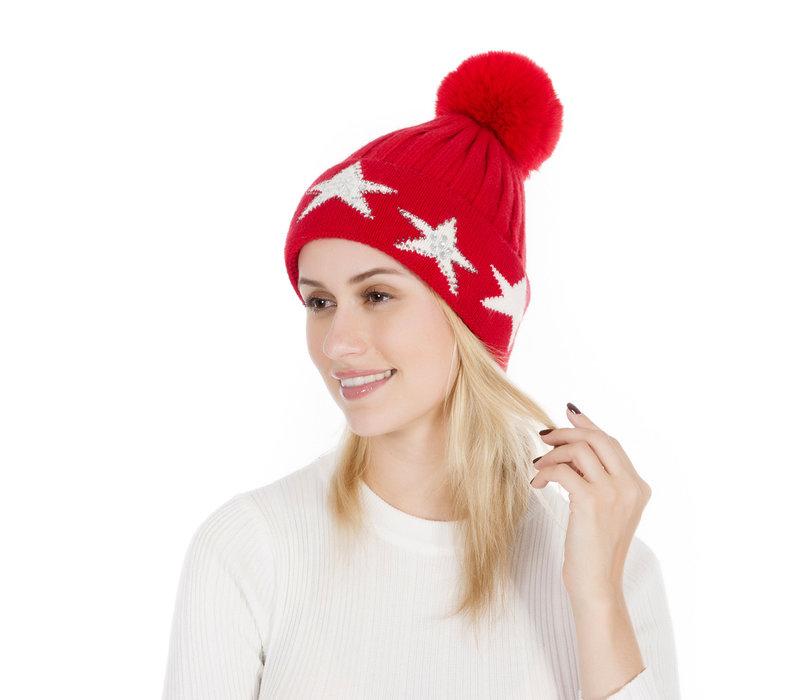 Peach SD16 Red pom pom Hat W/Stars
