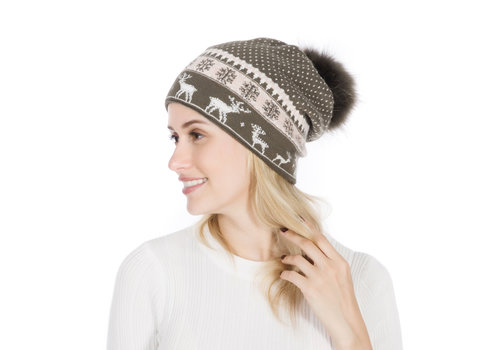 Peach Accessories Peach SD51-1 Olive pom pom Hat