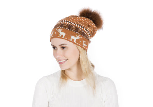 Peach Accessories Peach SD51-1 Deep Tan pom pom Hat