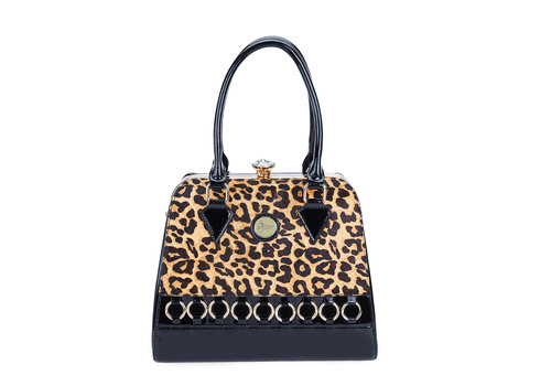 Peach Accessories Peach 9005 Pony skin gold Leopard Bag