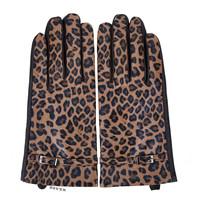 Peach HA1919 Leopard print leather gloves