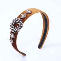Peach HACH110 Tan jewelled hairband