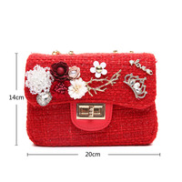 Peach CH-001 Red tweed Small Bag
