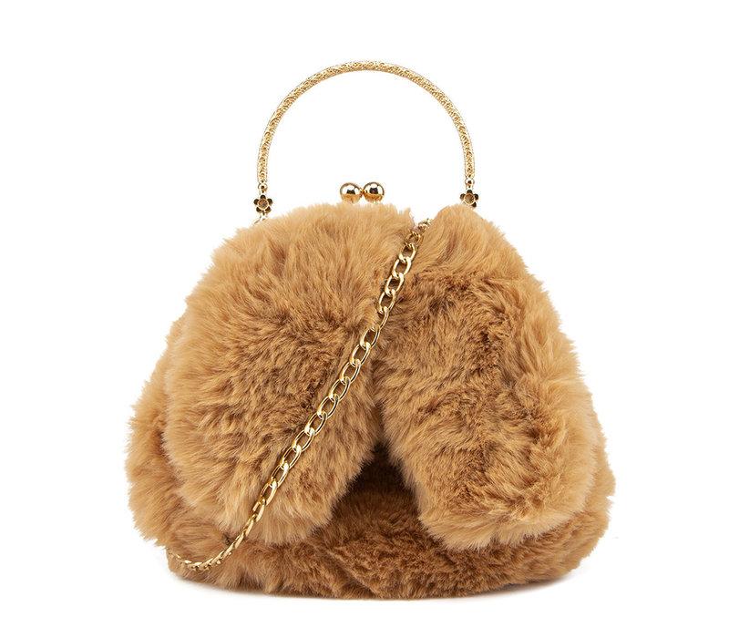 GESSY Bunny Ears Camel shoulder bag