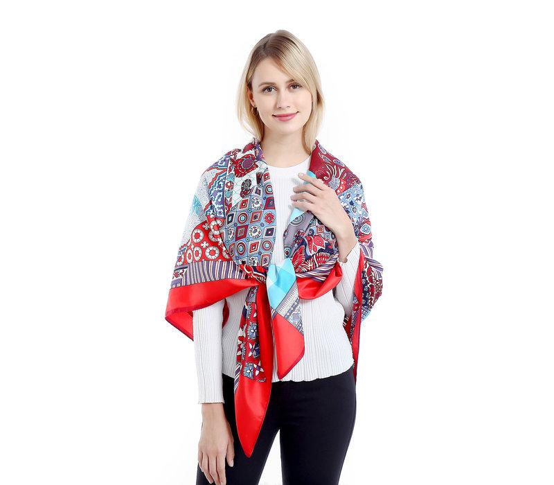 PEACH SQA005 Red multi scarf