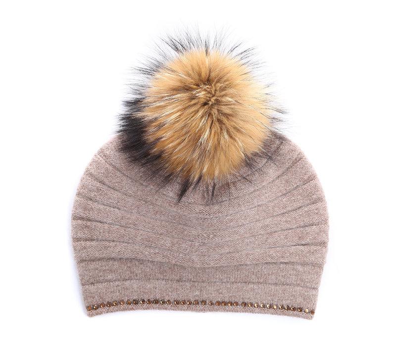 PEACH SD26 Khaki Pom Pom Hat