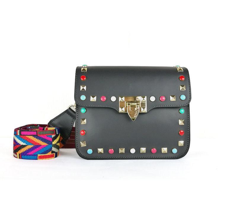 GESSY LT1015 Black leather stud bag