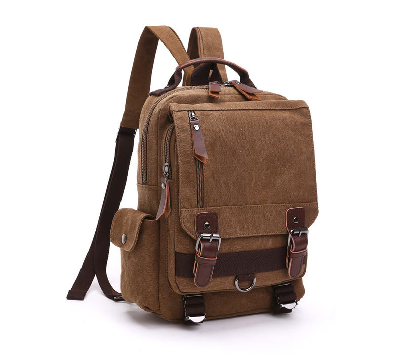 GESSY LB110 Backpack in Brown canvas