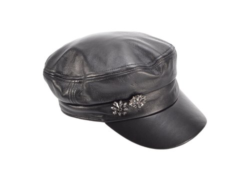 Seeberger Seeberger 018015/10 Blk Leather Military Cap