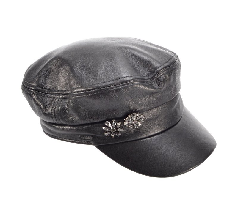 Seeberger 018015/10 Blk Leather Military Cap