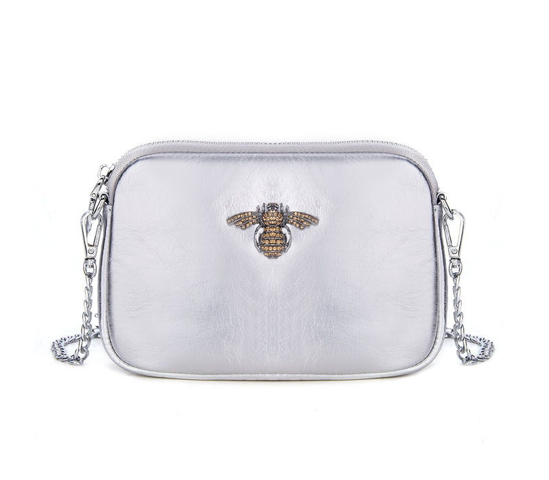 Peach 8801 Crystal Bee Leather pouch