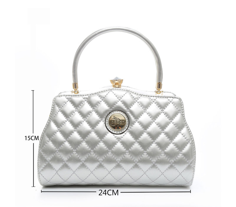 Peach ZW1803 silver quilted Bag