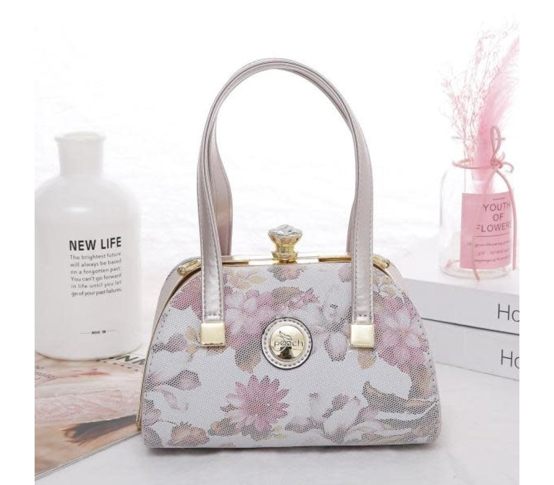 Peach 61329 Pink floral leather Bag