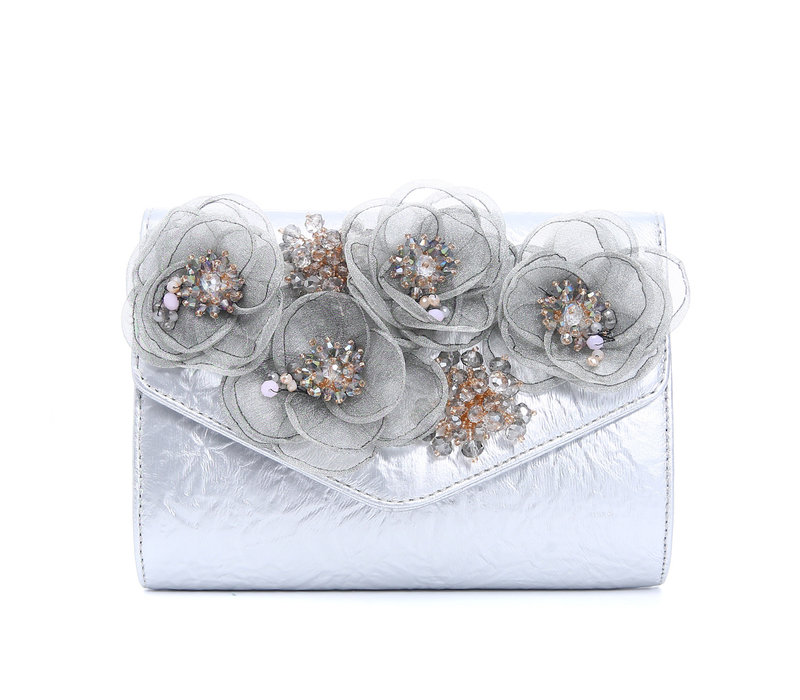 F2353 Silver Bag with flowers