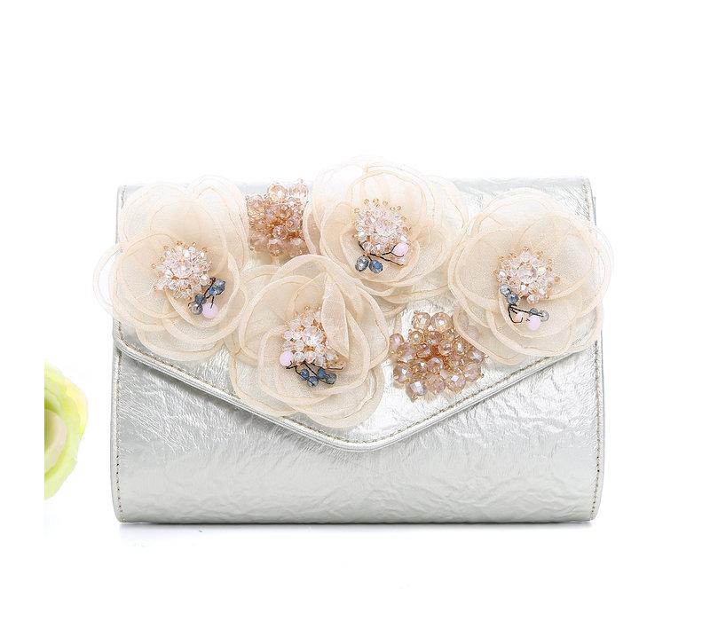 Peach F2353 Gold Bag with flowers