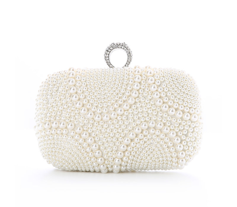 Peach 8226 Ivory pearl crystal ring top