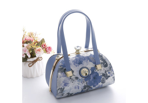 Peach Accessories Peach 61329-3 Blue Daisy leather Bag