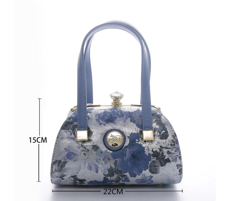 Peach 61329-3 Blue Daisy leather Bag
