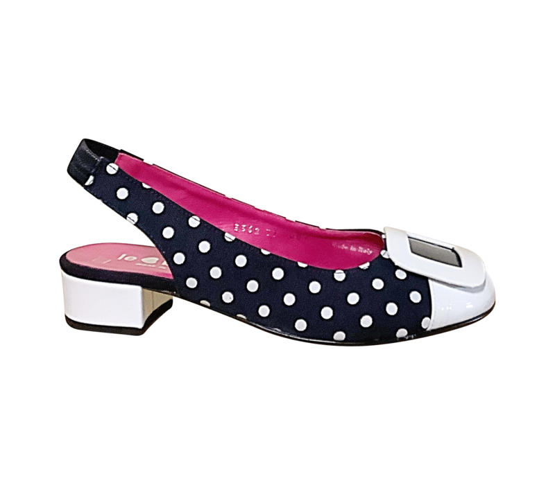 Le Babe 3362 Navy/White sling-backs