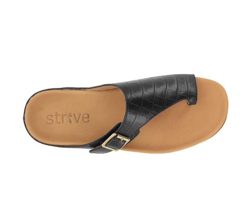 Strive JAVA Black Croc sandals
