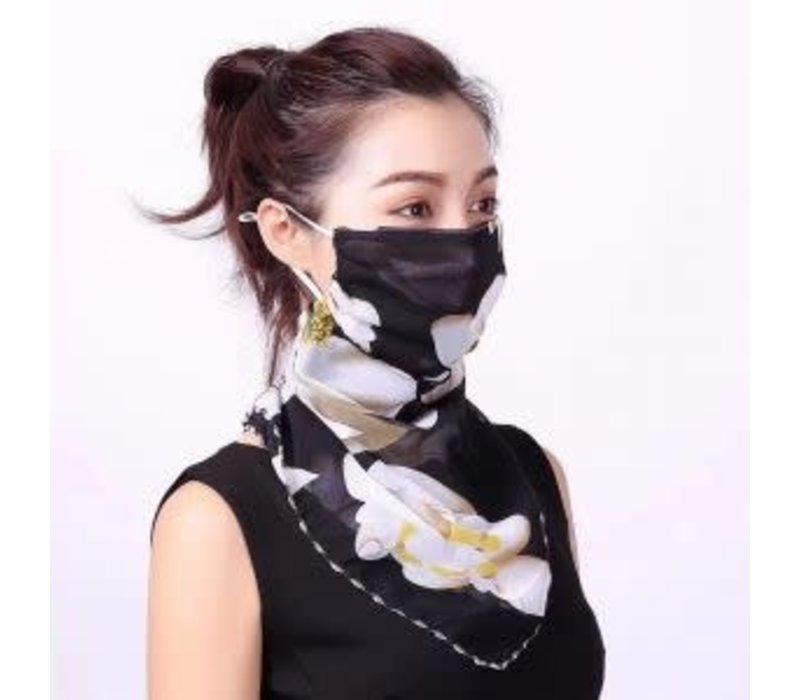 Peach scarf MASK Black floral
