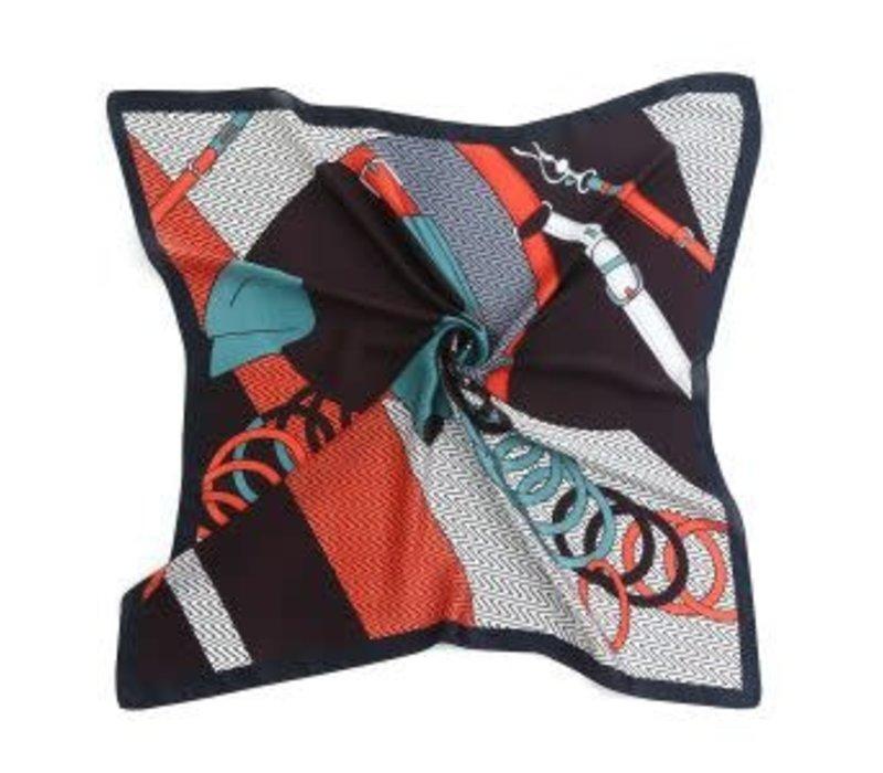 Peach F673 mixed print square scarf