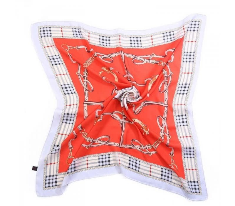 Peach F662 Red mix square scarf