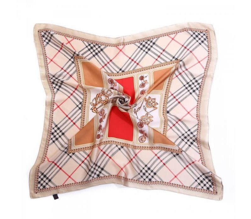 Peach F665 mixed vintage check scarf