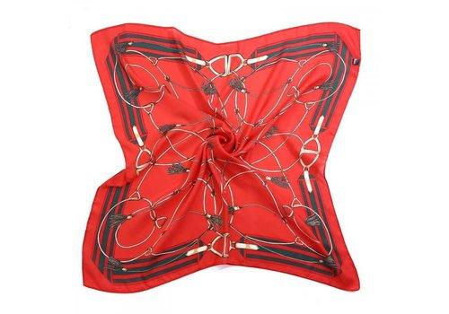 Peach Accessories Peach F669 Red chain print scarf