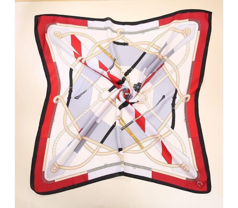 PeachF620 Red multi scarf
