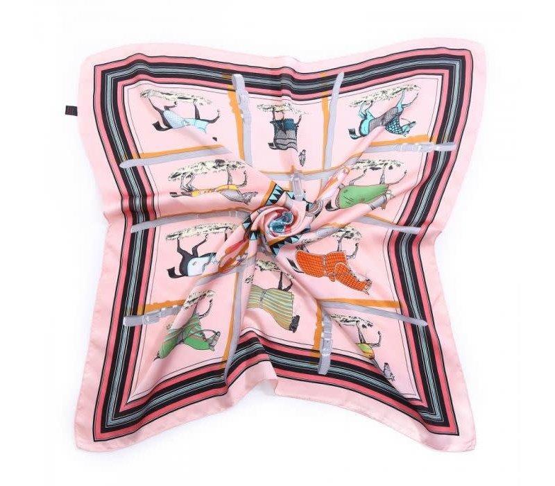 Peach F658 Horse print scarf