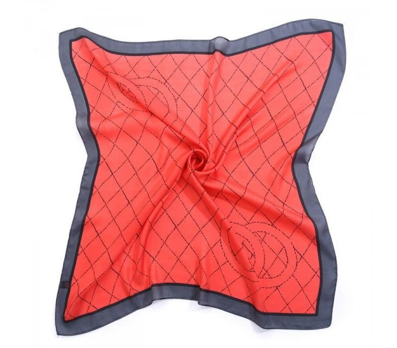 Peach F666 Red Square scarf