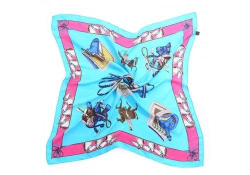 Peach Accessories Peach F659 Blue multi scarf