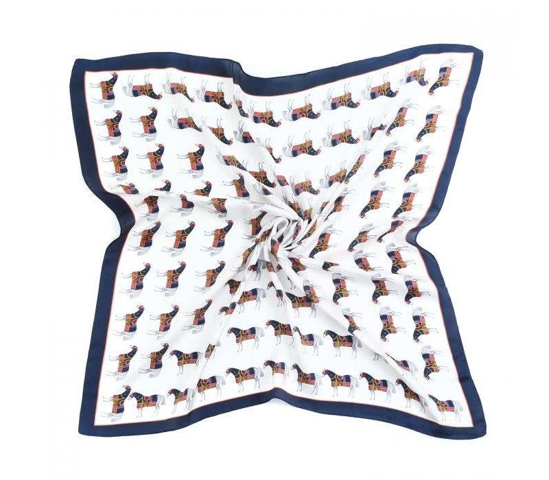 Peach F676 Horses print scarf
