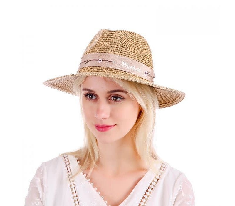 Peach WH148 Gold straw hat
