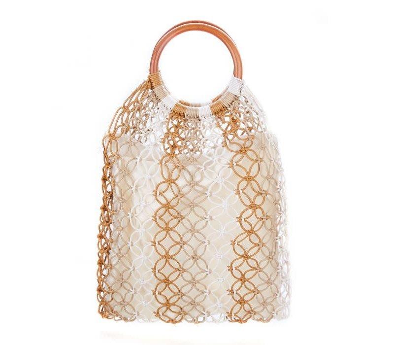 Peach 588 straw bag in Beige