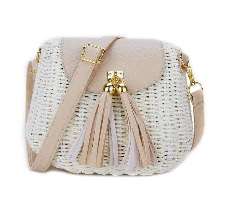 Peach 217 Beige straw bag with tassels