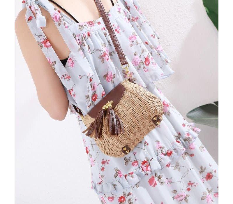 Peach 217 Brown straw bag with tassels
