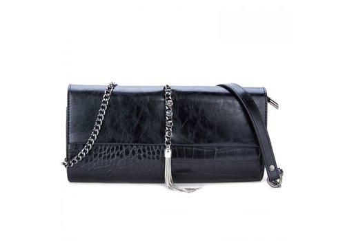 Peach Accessories Peach 88960-9 Black leatherBag with tassels