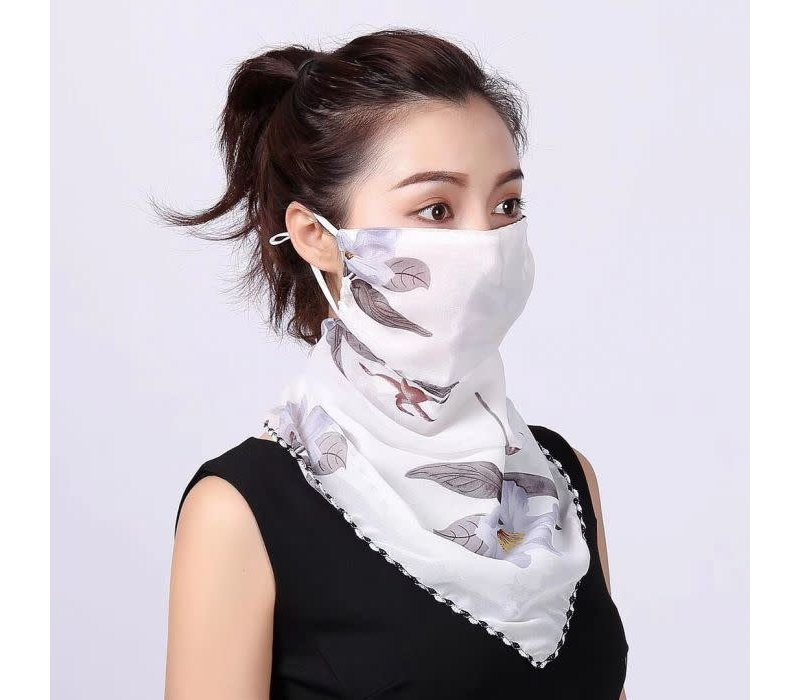 Peach scarf MASK Silver leaves