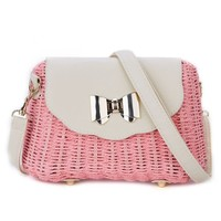 Peach 215 natural straw bag in Pink