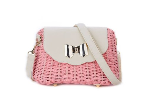 Peach Accessories Peach 215 natural straw bag in Pink