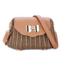 Peach 215 natural straw bag in Coffee